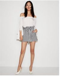 Express | High Waisted Tie Front Utility Shorts | Lyst