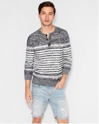 Express - Striped Henley Sweater - Lyst