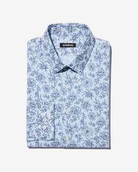 Express - Slim Floral Check Dress Shirt - Lyst