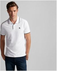 Express - Solid Tipped Small Lion Stretch Pique Polo - Lyst