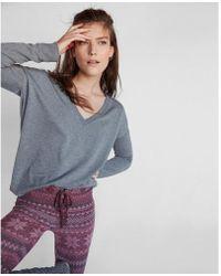 Express - Heathered V-neck London Sweatshirt - Lyst