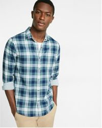 Express | Plaid And Stripe Reversible Long Sleeve Shirt | Lyst