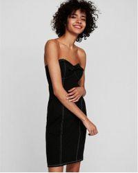 Express - Tie Front Strapless Dress - Lyst