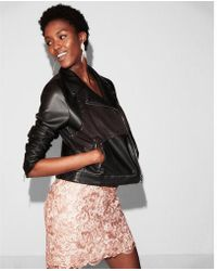 Express - Faux Suede Front Faux Leather Jacket - Lyst