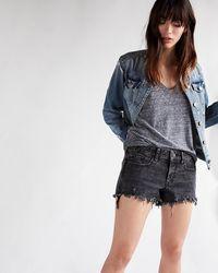 Express Low Rise Raw Hem Jean Shorts - Black