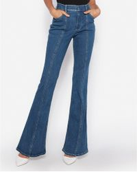 fdc316a72ddd6 Express - High Waisted Denim Perfect Seamed Bell Flare Jeans, - Lyst