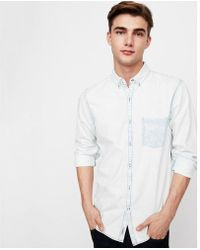 Express - Soft Wash Bleached One Pocket Denim Shirt - Lyst