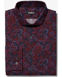 Express - Slim Paisley Dress Shirt Red - Lyst