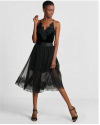 Express - Tulle Lace Hem Midi Skirt - Lyst