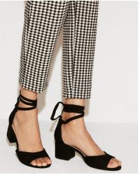 Express - Ankle Tie Low Heeled Sandals - Lyst