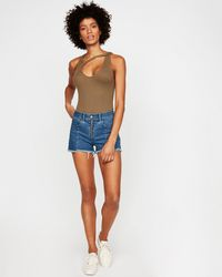 Express High Waisted Zip Front Cutoff Original Denim Shorts Blue