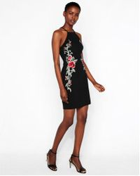 Express - Floral Embroidered Mini Dress - Lyst