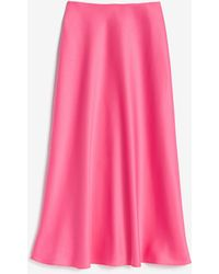 Express - Rocky Barnes Satin Midi Skirt Pink - Lyst
