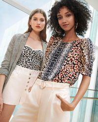 Express - Animal Print Puff Sleeve Chiffon Top Leopard - Lyst