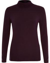 River Island Dark Red Polo Neck Top - Lyst