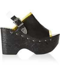 Toga Pulla Pvc-trimmed Embossed Leather Clogs - Lyst