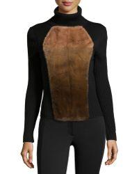 Carolina Herrera Mink-Front Wool Turtleneck brown - Lyst