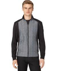 Calvin Klein Mix Media Quilted Fleece Jacket - Lyst