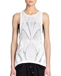 Helmut Lang Draped Patterned Open-Knit Tank white - Lyst