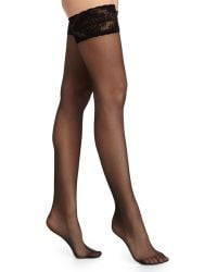 Wolford   Glam Lace-trim Thigh-high Stay-ups   Lyst