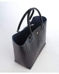Loewe Black and Blue Leather Perforated Logo Detail Top Handle Tote - Lyst