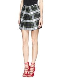 McQ by Alexander McQueen Inverted Pleat Front Tartan Check Wool Skirt - Lyst