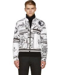 Versus  White and Black Twill Giubbotto Jacket - Lyst
