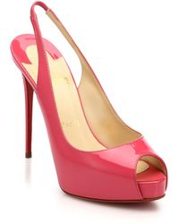Christian Louboutin Private Patent Leather Peep-Toe Slingback Pumps pink - Lyst
