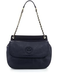 Tory Burch Marion Leather Saddle Bag Tory Navy - Lyst