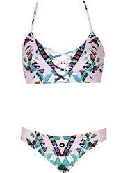Mara Hoffman Reversible Lattice Weave Halter Top With Classic Bottom Maristar Lilac purple - Lyst