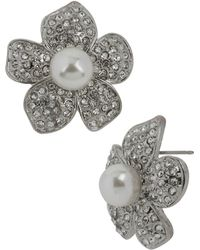 Betsey Johnson Crystal Pearl Flower Stud Earrings - Lyst