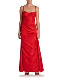 David Meister Draped Jacquard Gown - Lyst