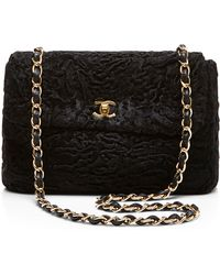 What Goes Around Comes Around Chanel Black Fur Half Flap 10in - Lyst