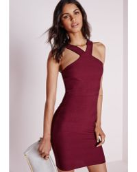 Missguided Ribbed Bodycon Dress Burgundy purple - Lyst