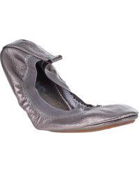 Yosi Samra Samra Metallic Ballet Flat Pewter - Lyst
