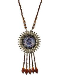 Topshop Bead And Wheel Necklace purple - Lyst