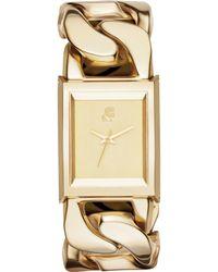 Karl Lagerfeld Unisex Marais Goldtone Stainless Steel Link Bracelet Watch 35x30mm - Lyst