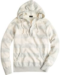 J.Crew Textured Cotton Henley Hoodie in Stripe - Lyst
