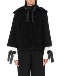 Alexander McQueen Astrakhan Cape Jacket black - Lyst