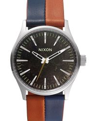 Nixon Navy And Brown Sentry 38 Leather Watch - Lyst