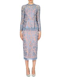 Emilia Wickstead Peplum-Waist Lace Dress - For Women blue - Lyst