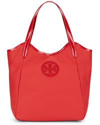 Tory Burch Patent Leather-Trimmed Logo Tote - Lyst