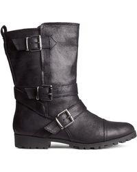 H&M Black Biker Boots - Lyst