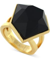 Vince Camuto - Gold-Tone Black Stone Cocktail Ring - Lyst