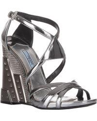Prada Wedge-Heel Strappy Sandals - Lyst