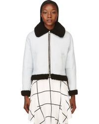 3.1 Phillip Lim Ice Blue and Black Shearling Aviator Bomber Jacket - Lyst