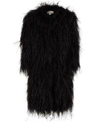 Temperley London Black Feathered Coat - Lyst