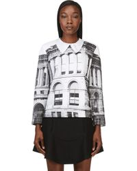Carven Black and White Public Library Print Collared Sweater - Lyst