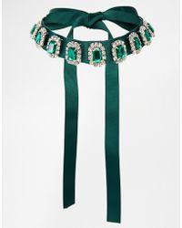Asos Emerald Jewel Ribbon Choker Necklace - Lyst