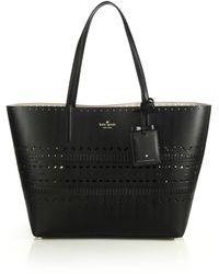 Kate Spade Lillian Laser-Cut Leather Tote black - Lyst